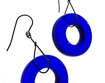Simply Upcycled Earring - Cobalt blue
