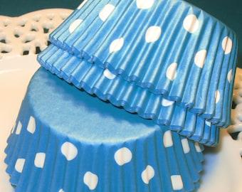 Aqua Blue Polka Dot Staybright Cupcake Liners  (Qty 45)  Aqua Polka Dot Cupcake Liners, Aqua Cupcake Liners, Aqua Polka Dot Muffin Cups