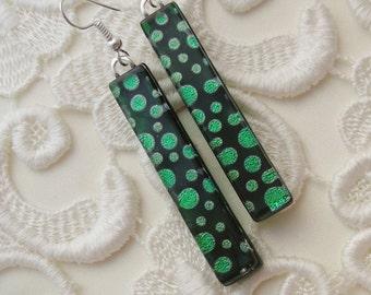 Dichroic Fused Glass Earrings - Long Earrings - Stick Earrings - Fashion Acessories - Dangle - Green Earrings X4559