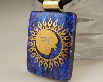 Sun Necklace - Solar - Dichroic Fused Glass Pendant - Fused Glass - Image Pendant - Dichroic Glass - Eclipse X8582