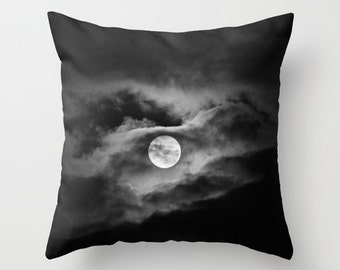 Full moon photo pillow, black and white home decor cloudy night sky cushion moon sofa pillow, cloud photo pillow, mystical theme pillow