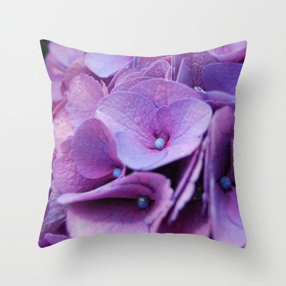 Purple Floral Decorative Pillows : Purple hydrangea pillow home decor pillow floral photo