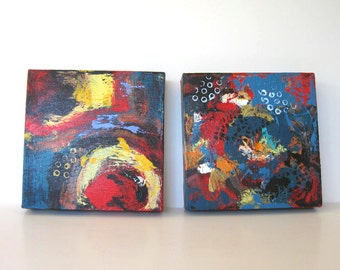 2 Abstract Paintings on canvas, Small Diptych, Original Acrylics, Modern Home Decor, gift idea