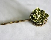 Vintage Style Stripe Green Flower Bobby Pin, Hair pin, Origami Flower, Romantic, Chic, Bridesmaid Gift