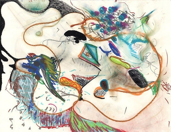 Drawing Day Drawing #2, ink and crayon on paper