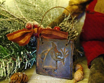 Primitive Santa Blackened Beeswax Christmas Ornament Scented Wax Melt Primitive Beeswax Ornament Primitive Christmas Decor Holiday Scents
