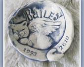 Cat or Kitty Memorial  Memory Bowl Trinket Dish