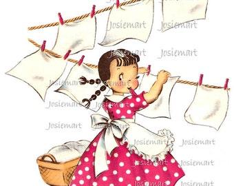 Vintage Digital Download Wash Day Girl Pink Polka Dot Vintage Image Collage Large JPG PNG  Clipart
