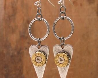 Bullet Jewelry - Bullet Casing Earrings - Elongated Heart 9mm Dangle Earrings