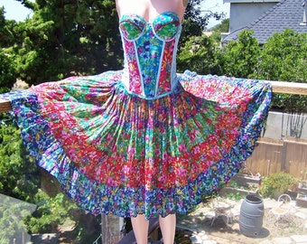 Corset Dress, Party dress, Festival dress, Floral dress, size M / L, size 38 A / 36 B