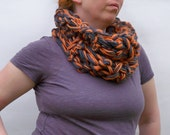 REDUCED 50% OFF Sale - Arm Crocheted Scarf - Chunky Cowl In Pumpkin And Granite - Wool Neck Warmer - Infinity Scarf - Halloween Scarf