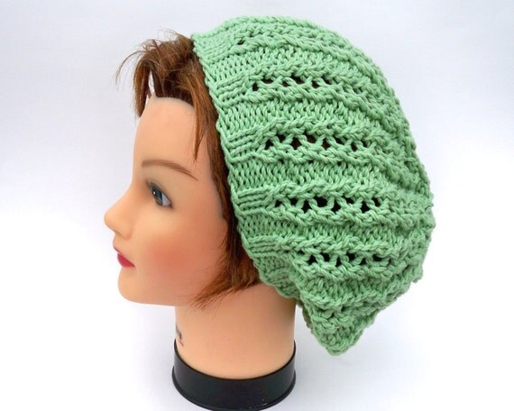 Lace Slouchy Hat - Limeade Green Beanie - Chunky Beret - Cotton Blend Tam - Women's Headwear - Knit Accessories - All Seasons Hat