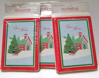 24 Invitations Christmas Party Invites Vintage Open House Notecards Christmas Party Invitation Retro Party Supplies Country Cottage Ephemera