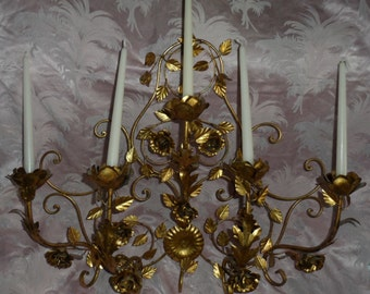 "SALE!  vintage Italian tole wall sconce ~Shabby French~ROSES~Wow!~34"" wide~Candelabra"