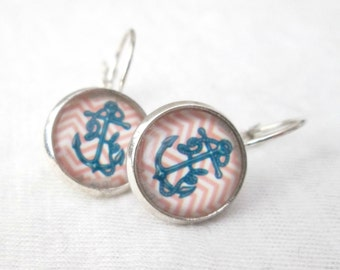 Nautical Anchor Motif Silver Lever-Back Earrings