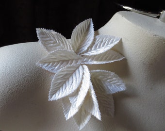 SALE Seconds Velvet Leaves 12 medium Size in Ivory  for Bridal, Boutonnieres, Headbands, Hats, Costumes, Masks, Crafts