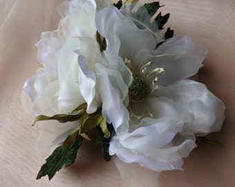 White Silk Flower Double Silk Magnolia for Bridal, Hats, Corsages, Floral Supply MF