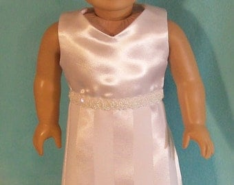 American Made 18 Inch Doll Special Occasion White Dress