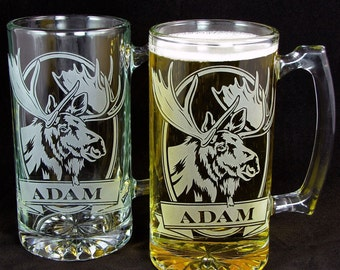 2 Nature Inspired Wedding Groomsmen Gifts, Personalized Moose Beer Stein, Presents for Men