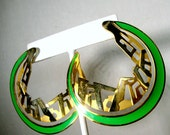 Edgar BEREBI Vintage Earrings,  Gold n Green Large Crescent Posts, 1980s Art Deco Classic, GORGEOUS,  Lightweight and Large