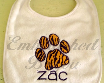 Personalized Applique Paw Print Bib for Baby or Toddler, Geaux Tigers