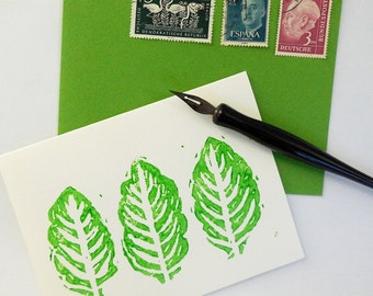 Hand Printed Cards-Citrus Leaves Set of 5
