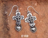 E159 The Galisteo Cross and Taos Sacred Heart Southwestern Native Style Sterling Silver Earring