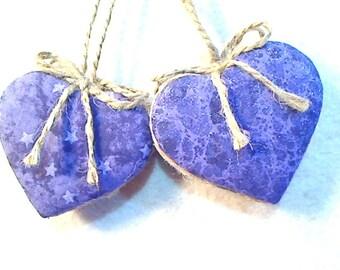 Purples/Lavender Heart Ornaments | Tree Ornament | Birthday | Bridal Party Favor | Home Decor | Set/2 | Valentine's Day | Handmade | #1
