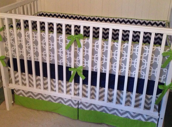 Lime Green And Gray Bedding: Lime Green Gray And Navy Crib Bedding By Butterbeansboutique