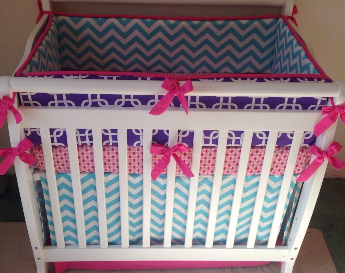 Mini Crib Bedding Pink Aqua Purple By Butterbeansboutique