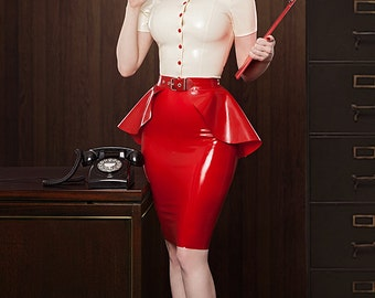 Lady Lucie Latex button up blouse with collar (Various colours available)