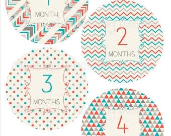 Monthly Chevron Milestone Stickers- Boys monthly bodysuit stickers- Baby month stickers- Monthly baby stickers- Baby shower gift- BOY274