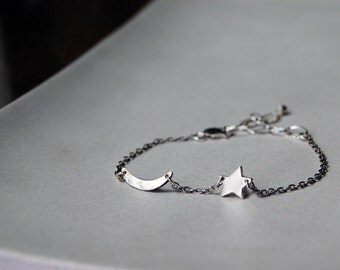 Tiny Rustic Crescent Moon and Star Bracelet