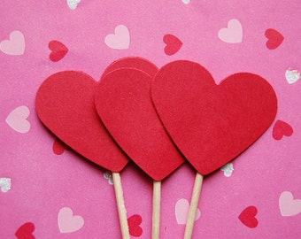 Red Heart Cupcake Topper Picks-Set of 12-Wedding Shower-Wedding Heart Topper-Valentine-Valentines Heart Topper-Love-Bridal-Ready to Ship