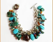 Southwestern Big Sky Colors Treasure Charm Bracelet Bold and Chunky