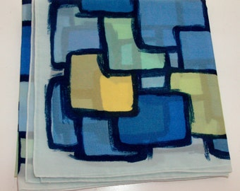 Blue, Yellow, and Green Square Scarf with Geometric Pattern (Code v)