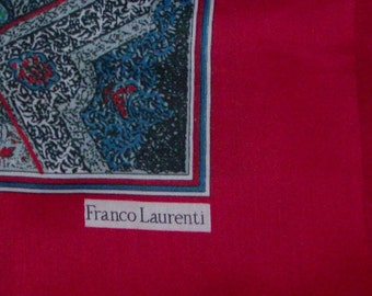 Large Ruby Fringed Square Scarf or Shawl by Franco Laurenti (Code v)