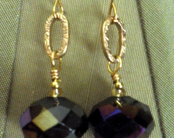 dangle EARRINGS, vintage Gold B.S.K. link, Aurora Borealis crystal