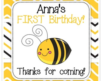 Birthday Bee Stickers, 2 inch SQUARE, Custom Bee stickers, Personalized Children Stickers, Personalized for YOU