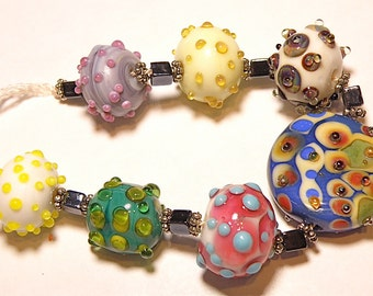 ON SALE - 25% OFF --- Set of Seven (7) Colorful Bumpy Rondelle and Spree Lampwork Beads - Lot F