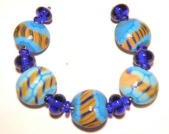 60% OFF SALE --- DESTASH -- 21 Beads: Coordinating Set of Turquoise Blue, Cobalt Blue, and Brown Lentils and Rondelles - Lot F