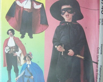 Men's Theatrical Costume McCall's 3746 Adult Sewing Pattern, Boot Covers, Cape, Hats, Pirate, Zorro, Vampire, Swashbuckler UNCUT