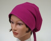 Organic Cotton Snood, Women Cotton Hat, Chemo Cap, Headcovering, Magenta Cancer Hat, M to XL