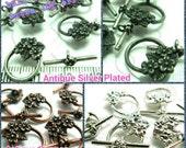 BULK -10% / B312 / 20 Sets / Inner Ring Dia. 10 mm x  Bar 18 mm - Daisy Flower Toggle Clasp Findings