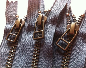 YKK metal zippers with antique brass finish and DHR style pull- (5) pieces - Slate Gray 914- Available in 7,9,10,12,14 and 16 Inch