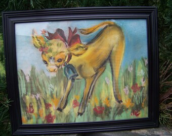 Vintage Colored Chalk Drawing...Calf Playing in Flowers..Mid Century..Original Hand Drawn...OOAK...Baby Nursery Wall Art...Nursery Rhyme Art
