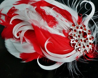 White and Red Feather Small Fascinator Hair Clip