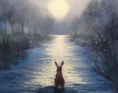 Isabella and the Moon,Watercolor Paper Print, Giclee, Isabella