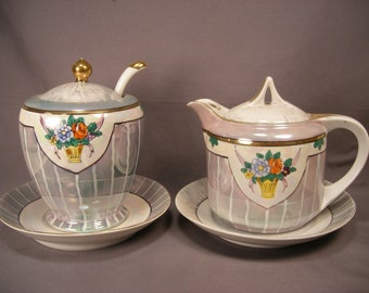 Vintage Porcelain Lusterware Condiment Set - Mustard Pot or Sugar and Syrup or Cream Pitcher