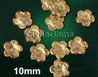 10mm Brass Cherry Blossom Stamping Premium Quality USA R0224 - 12pcs
